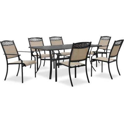 Lisbon 7-Piece Aluminum Outdoor Dining Set with 6 Sling Stationary Chairs and 39 in. x 68 in. Cast-Top Dining Table