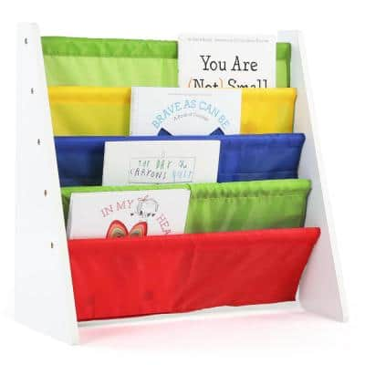 Summit Collection White/Primary Kids Book Rack Storage Bookshelf