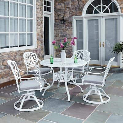 Capri White Swivel Cast Aluminium Outdoor Chair with Gray Cushions