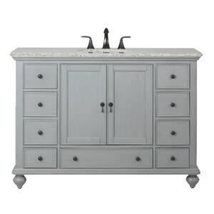 Newport 49 in. W x 21-1/2 in. D Bath Vanity in Pewter with Granite Vanity Top in Grey