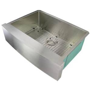 Diamond Farmhouse/Apron-Front Stainless Steel 30 in. Single Bowl Kitchen Sink in Brushed