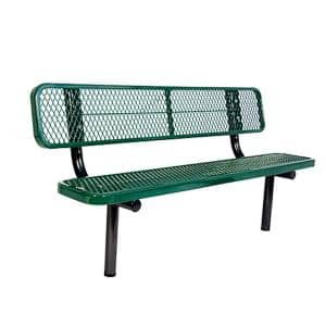 In-Ground 6 ft. Green Diamond Commercial Park Bench with Back