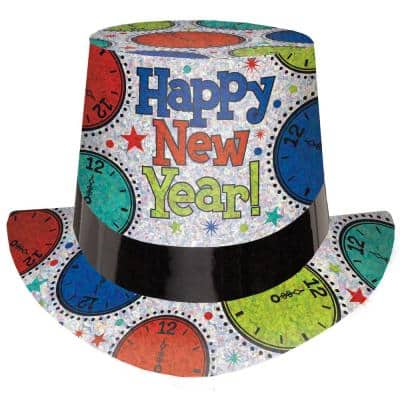 New Year's 5 in. Rainbow Prismatic Clock Top Hat (4-Pack)