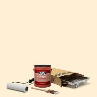 1 gal. #YL-W03 Honied White Ultra Extra Durable Flat Interior Paint and 5-Piece Wooster Set All-in-One Project Kit