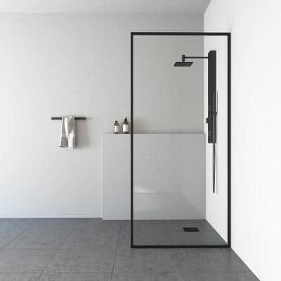 Meridian 34 in. W x 74 in. H Fixed Framed Shower Door in Matte Black with Clear Glass