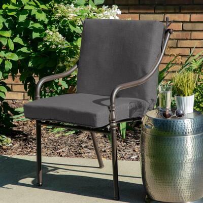 Oak Cliff 22 x 40 Sunbrella Cast Slate Mid Back Outdoor Dining Chair Cushion