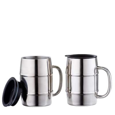 16 oz. KeepKool Stainless Steel Mugs with Lids (Set of 2)