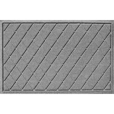 Aqua Shield Argyle Medium Gray 23 in. x 35 in. Recycled Polyester/Rubber Indoor Outdoor Door Mat