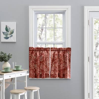 Brick Leaf Rod Pocket Room Darkening Curtain - 56 in. W x 36 in. L (Set of 2)