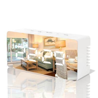Aesthetic Digital Alarm Clock Mirror Surface - USB and Battery Operated (White)