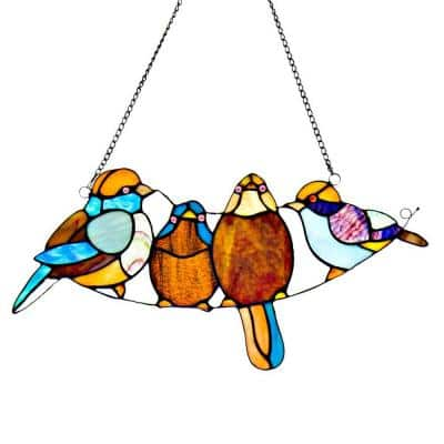 Multi-Colored Stained Glass Song Bird Window Panel