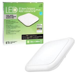 20 in. Square LED Flush Mount Ceiling Light 2200 Lumens 30-Watt 4000K Bright White Dimmable