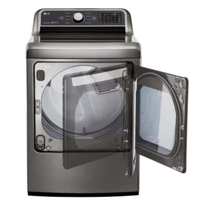 7.3 cu. ft. Ultra Large Graphite Steel Smart Electric Vented Dryer with EasyLoad Door & Sensor Dry, ENERGY STAR