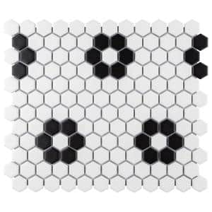 Metro Hex Matte White with Flower 10-1/4 in. x 11-7/8 in. x 6 mm Porcelain Mosaic Tile (8.65 sq. ft. / case)