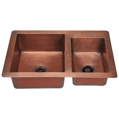 Undermount Copper 33 in. Double Bowl Kitchen Sink
