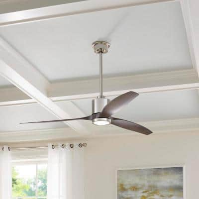 Triplex 60 in. LED Polished Nickel Ceiling Fan with Light