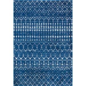 Blythe Modern Moroccan Trellis Blue 8 ft. x 10 ft. Area Rug