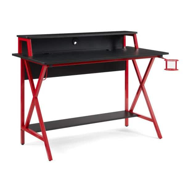 Linon Home Decor Blake Red Gaming Desk With Led Lighting Thd02952 The Depot