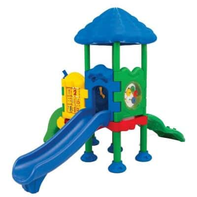 Discovery Center Commercial Playground 2 Deck with Roof Ground Spike Mounting