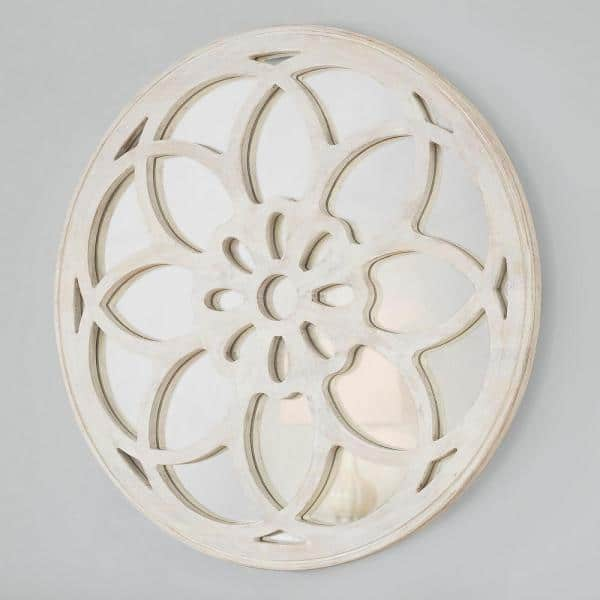 Home Decorators Collection Medium Round White Antiqued Classic Accent Mirror 40 In Diameter Dc19 5055 The Home Depot