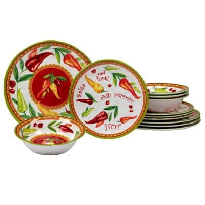 Red Hot 12-Piece Melamine Dinnerware Set (Service Set for 4)