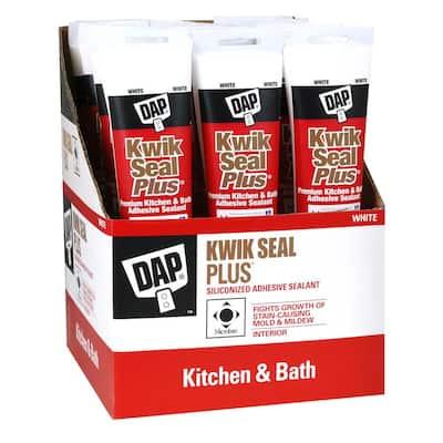 Kwik Seal Plus 5.5 oz. White Premium Kitchen and Bath Siliconized Caulk (12-Pack)
