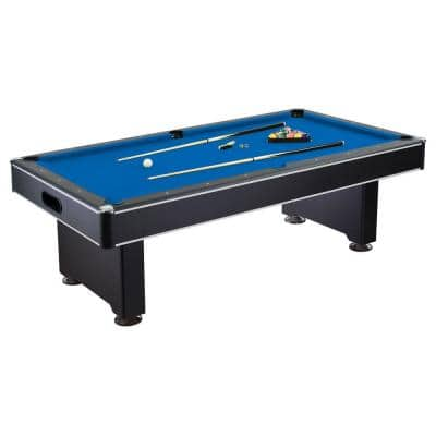 Hustler 8 ft. Pool Table with Blue Felt, Internal Ball Return System, Easy Assembly, Pool Cues and Chalk