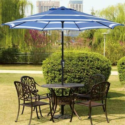 9 ft. Steel Market Crank and Tilt Pattern Patio Umbrella in Blue and White