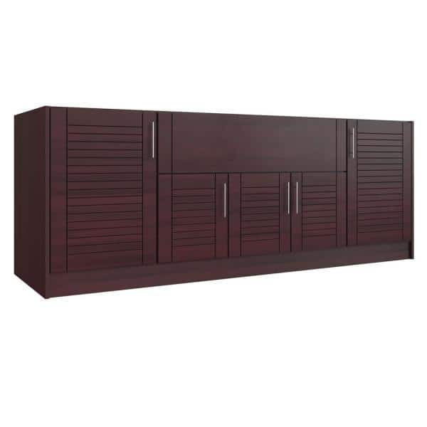 Weatherstrong Tampa Mahogany 14 Piece 91 25 In X 34 5 28 Outdoor Kitchen Cabinet Island Set Wse90i Tmh The Home Depot
