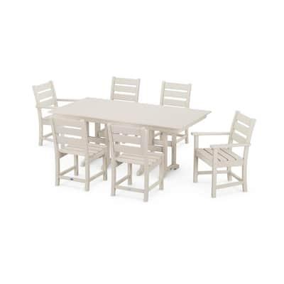 Grant Park Sand 7-Piece Plastic Rectangular Outdoor Dining Set