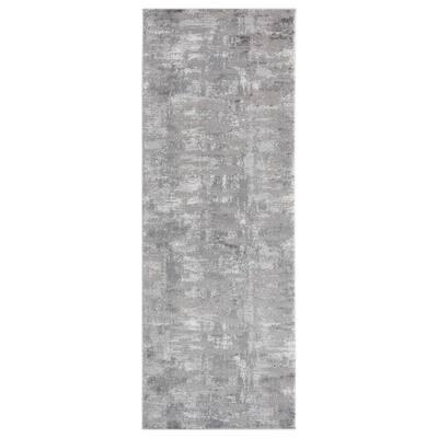 Cascades Salish Grey 2 ft. 7 in. x 7 ft. 2 in. Runner Rug