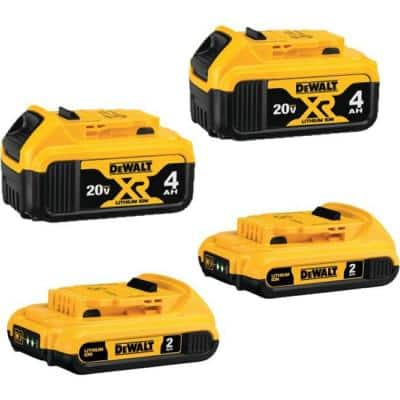 20-Volt MAX Compact Lithium-Ion 2.0Ah Battery Pack (2-Pack) and 4.0Ah Battery (2-Pack)