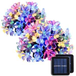 Outdoor 23 ft. Solar Powered Novelty Bulb LED String Light with Multi-Color, Flower (2-Piece)