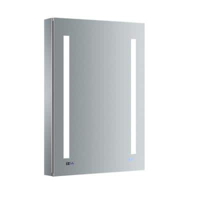 Tiempo 24 in. W x 36 in. H Recessed or Surface Mount Medicine Cabinet with LED Lighting, Mirror Defogger and Left Hinge