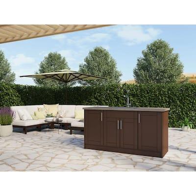 Sanibel Dock Brown 13-Piece 67.25 in. x 34.5 in. x 25.5 in. Outdoor Kitchen Cabinet Island Set
