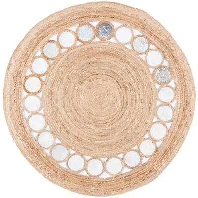Natural Fiber Beige/Gray 6 ft. x 6 ft. Round Area Rug