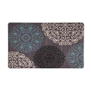 Gray 18 in. x 30 in. Contemporary Modern Floral Anti Fatigue Standing Mat