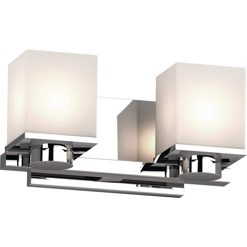 Volume Lighting Sharyn 2 Light 8 In Chrome Indoor Bathroom Vanity Wall Sconce Or Wall Mount With Frosted Glass Square Rectangle Shades 1152 3 The Home Depot