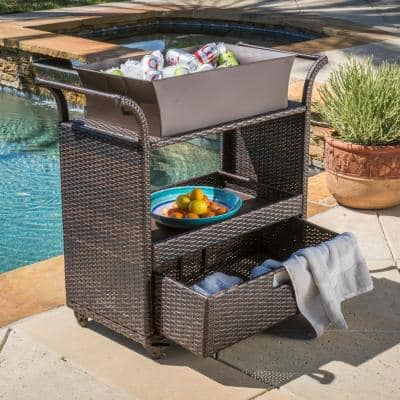 Ravenna Wicker Outdoor Serving Bar with Ice Bucket and Drawer