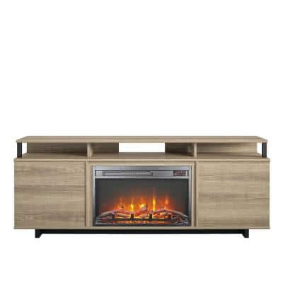 Scepter 59.41 in. Freestanding Electric Fireplace TV Stand in Golden Oak Fits TV's upto 65 in.