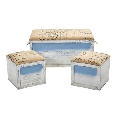 Ocean Breeze Wood Storage Boxes with Bench and Seating (Set of 3)