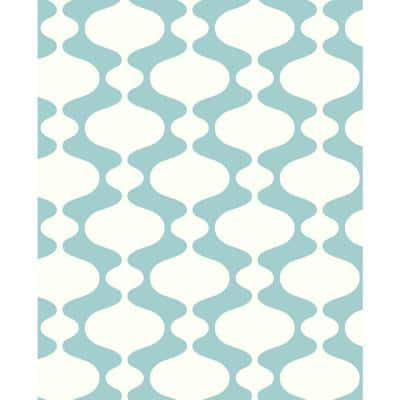 Ashbury Turquoise Retro Paper Strippable Roll (Covers 56.4 sq. ft.)