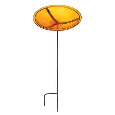 14 in. Dia Mandarin Orange Reflective Crackle Glass Birdbath Bowl with Stake