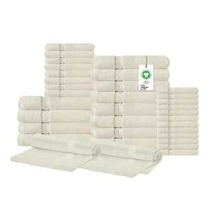A1HC Feather Touch Quick Dry 34-Piece Ivory Solid 100% Organic Cotton 700 GSM Towel Set