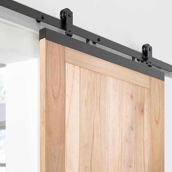 Jeld Wen 36 In X 80 In Designglide Farmhouse Unfinished Solid Wood 4 Panel Sliding Barn Door W Black Hardware Kit Thdjw237100004 The Home Depot