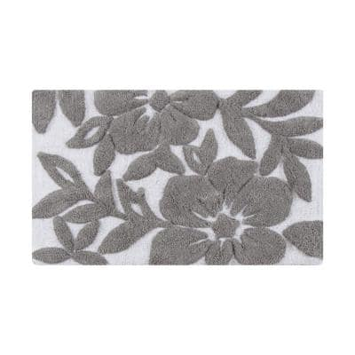 Burlington Leaf White and Grey (1 ft. 75 in. x 2 ft. 8 in.) Cotton Bath Mat