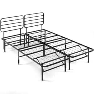SmartBase Black Queen Metal Bed Frame with Headboard