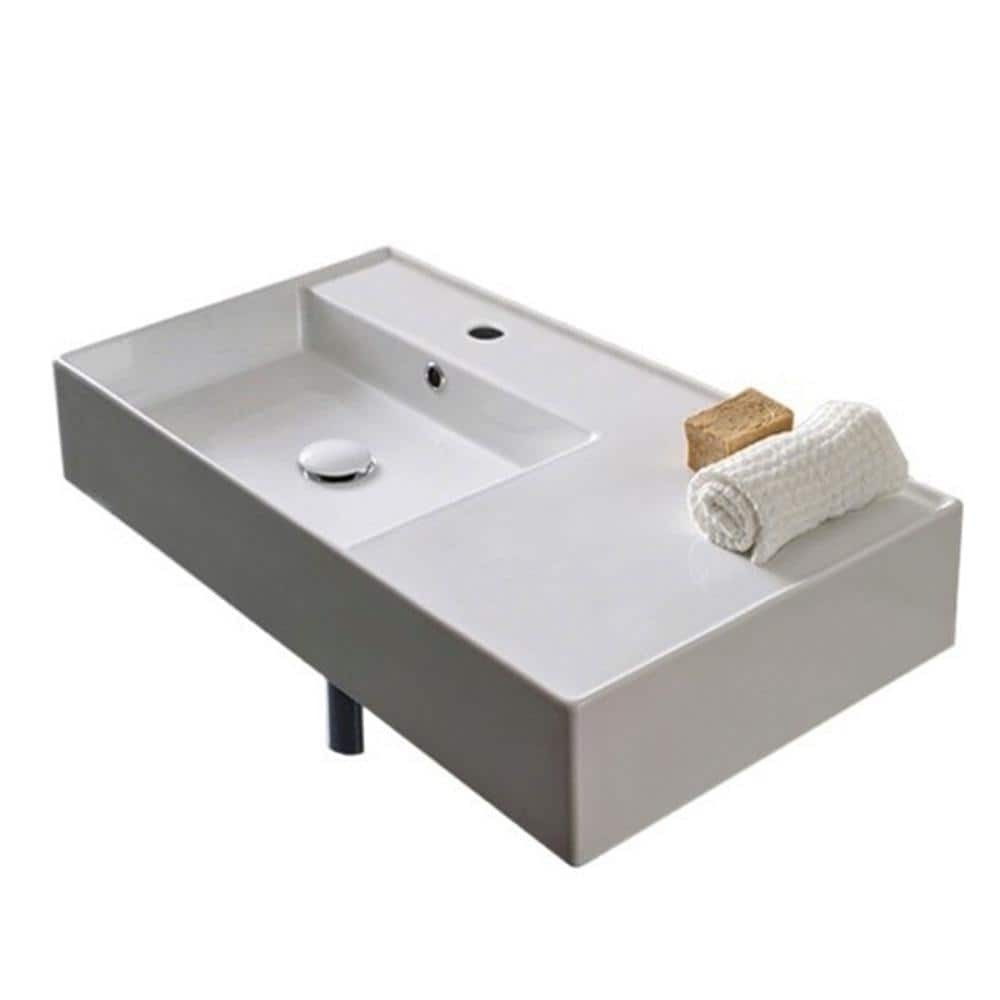 Nameeks Teorema Wall Mounted Bathroom Sink In White Scarabeo 5115 One Hole The Home Depot