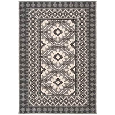 Veranda Ivory/Charcoal 9 ft. x 12 ft. Indoor/Outdoor Area Rug
