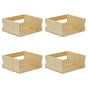 11.75 in. x 9.63 in. x 4.75 in. Small Wood Crate (4- Pack)